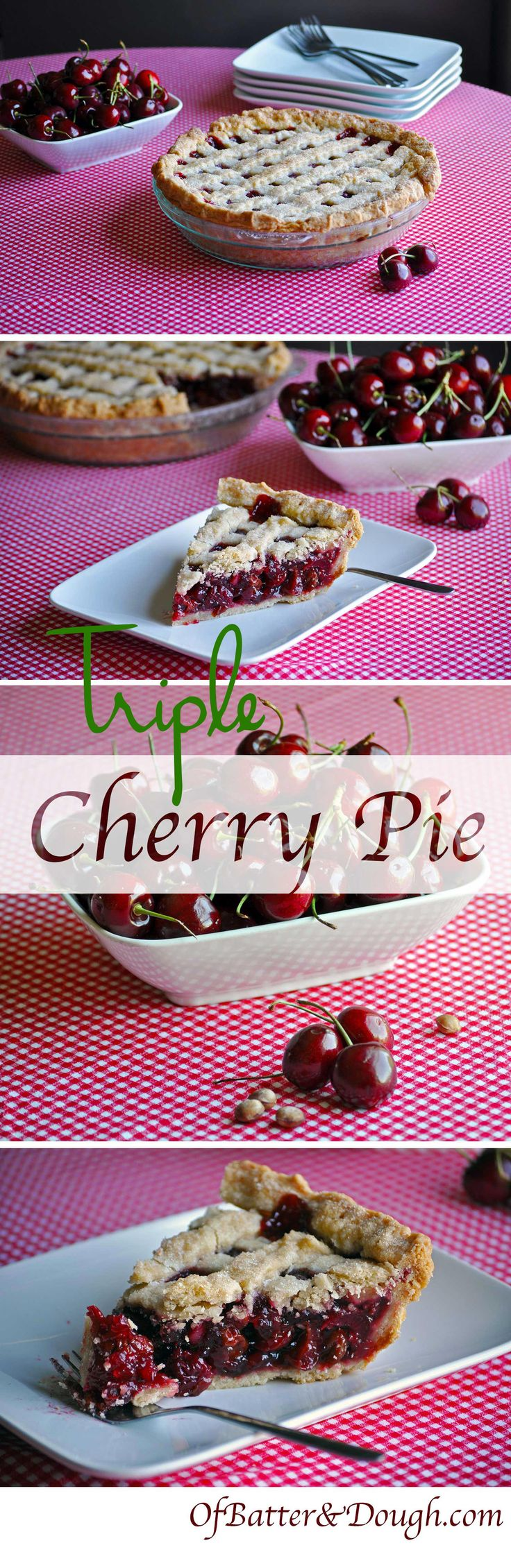 Tripple cherry pie recipe. This cherry pie recipe combines sour cherries, sweet cherries and dried cherries for a complex, richly cherry flavor that I love. I think you will too!