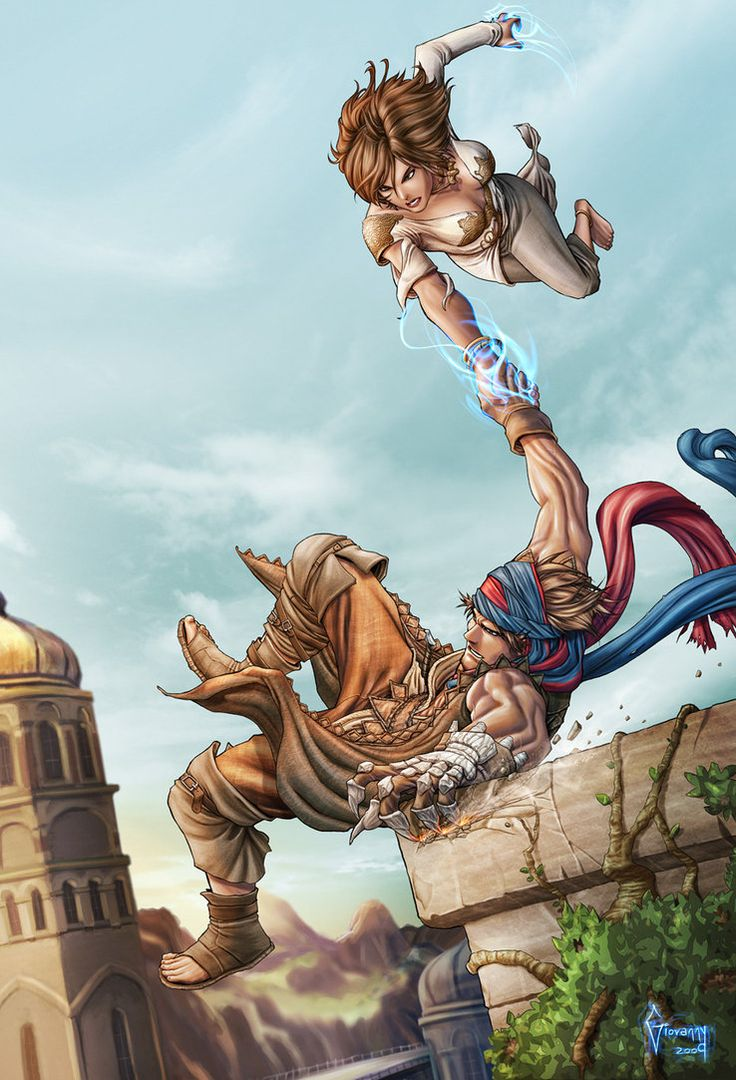 Prince of Persia by Matelandia Here's Elika saving the Prince from a hell of a fall...