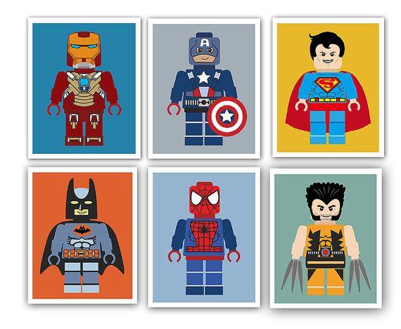Super-héros téléchargement immédiat 8 x 10 imprimer. Le sticker parfait pour votre petit mans chambre, pépinière ou salle de jeux ! Cette liste