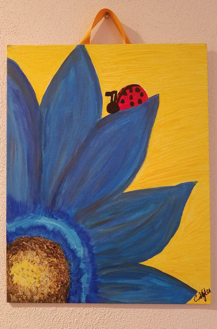 """""""Lady Bug on Blue"""" - I painted this in a lunch hour class at my workplace, Vincennes University Jasper.  Jasper Arts Center worked with our Student Services Director to offer this fun lunch program to students and staff."""