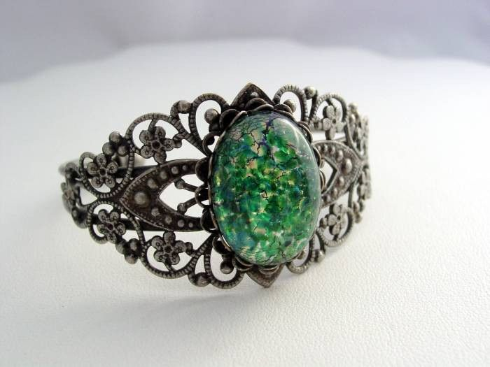Green Fire Opal Vintage Glass Filigree Cuff Bracelet Antique Silver Platinum Finish