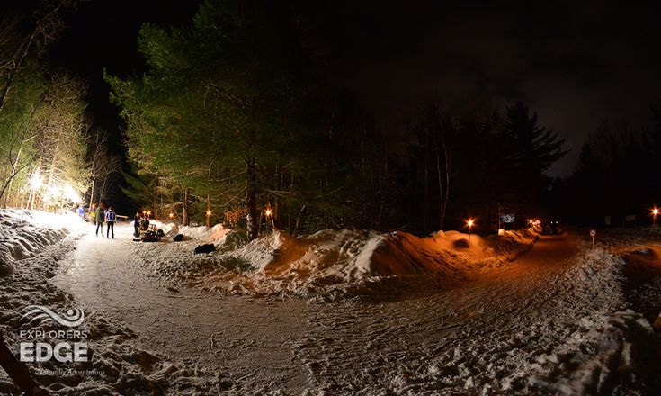 Ice skate through the forest at night. Arrowhead Provincial Park