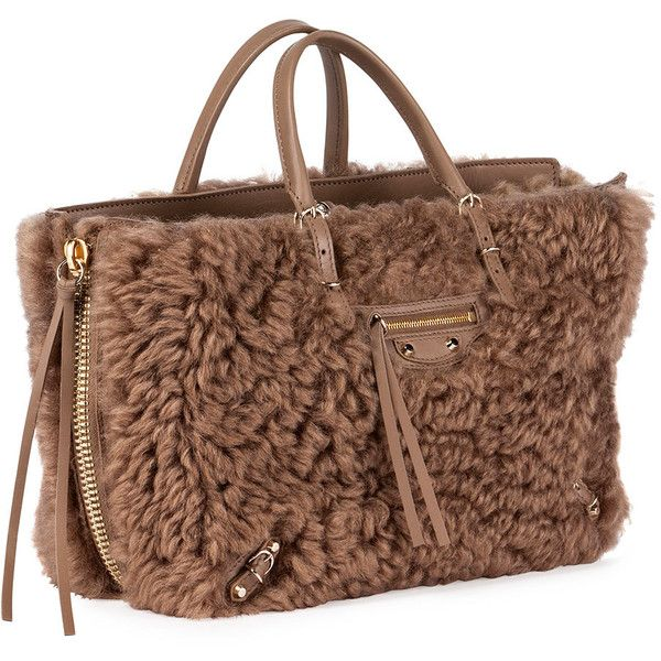 Balenciaga Papier A6 AJ Zip-Around Shearling Fur Tote Bag ($2,115) ❤ liked on Polyvore featuring bags, handbags, tote bags, balenciaga, brown tote, studded tote bag, tote handbags, fur purse and brown tote purse