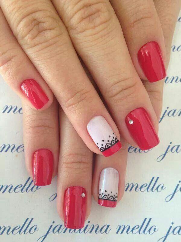 Nails art vermelho, desenho, arte, decoradas, delicadas, faça você mesma,