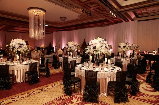 What A Dramatic Contrast Black Chair Covers With Ruffled Tails