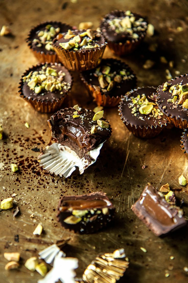 Chocolate Bourbon Caramel Cups with Salted Pistachios by @heatherchristo. My word!
