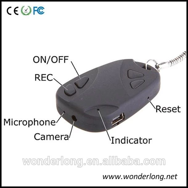 720*480 Motion detection car key camera hidden Keychain camera manual 808 car key dvr