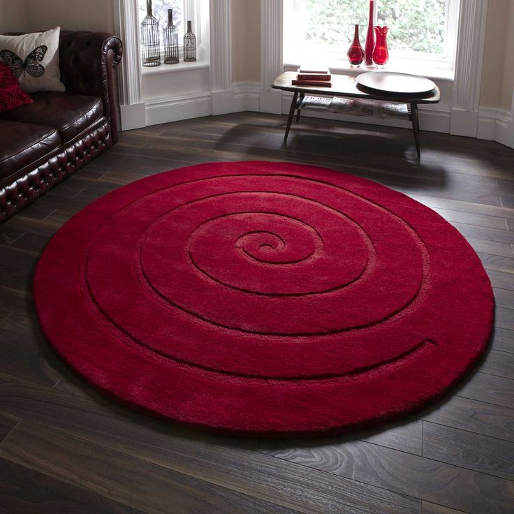 Spiral Circular Rugs are Hand Made with a Soft 100% Wool pile in Gold, Brown, Red, Grey and Ivory. #RedRugs #CircularRugs