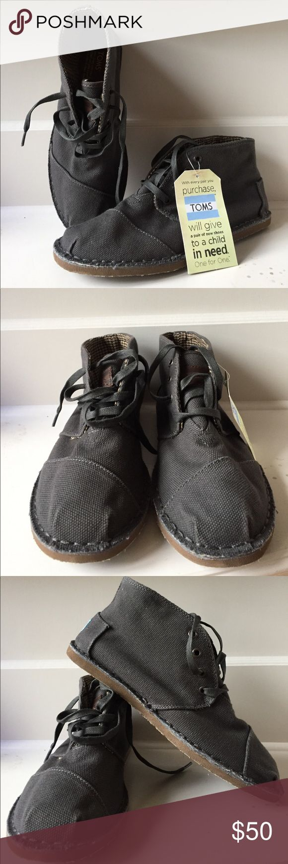 NWT Men's Tom's Charcoal Canvas Desert Botas 8 Brand-new without box Men's Tom's Charcoal Canvas Desert Botas in a size 8.  Great looking mens shoe that has a rubber sole and a canvas upper and laces up.  I don't miss from a pet and smoke free home. C41 Toms Shoes