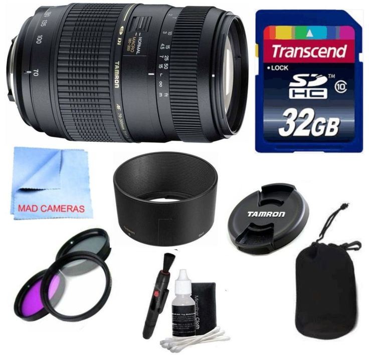 Tamron Lens Kit For Nikon DSLR Cameras With Tamron 70-300mm f/4-5.6 Di LD Macro Autofocus Lens for Nikon AF (62mm, AF017NII) with Built in Motor + 3 Piece Filter Kit + 32 GB Transcend SD Card. This Tamron For Nikon Lens Kit Includes: Tamron 70-300mm f/4-5.6 Di LD Macro Autofocus Lens for Nikon AF. 32GB Transcend High Speed SD Card, 3 Piece Filter Kit (UV, CPL, & Fluorescent). Tamron Lens Hood, Lens Pouch, Lens Cleaning Kit. Compatible with Nikon Digital SLR Cameras. 1 Year Warranty.