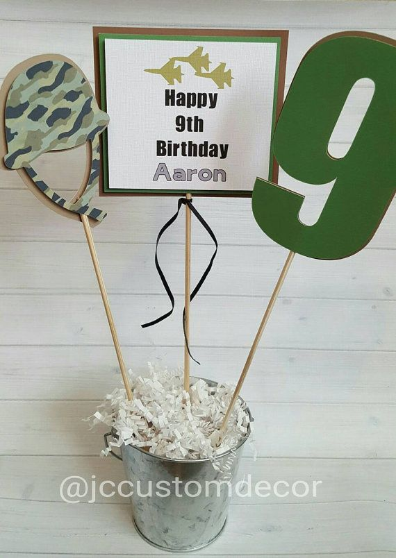 Military Camo Birthday Centerpiece-Military
