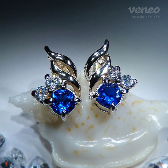 Vega. Handmade Silver or Gold Sapphire and Zircons Earrings all by Czech Jewelry Veneo, $57.00