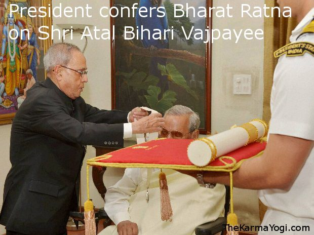 "Prime Minister Narendra Modi today said it was a historic day as Bharat Ratna was conferred upon former Prime Minister Atal Bihari Vajpayee. ""It is a historic day for crores of Indians today when Atal Bihari Vajpayee is being given Bharat Ratna award,"" he tweeted. Later, the Prime Minister said Vajpayee had dedicated his life to the nation and was an inspiration for crores of people like him."