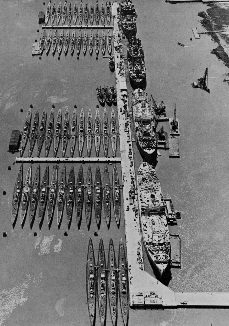 The war is over and US forces are being demobilized back to peacetime status. Here, 52 submarines and 4 submarine tenders of the US Navy Reserve Fleet rest in Mare Island Naval Shipyard, California, circa Jan 1946.