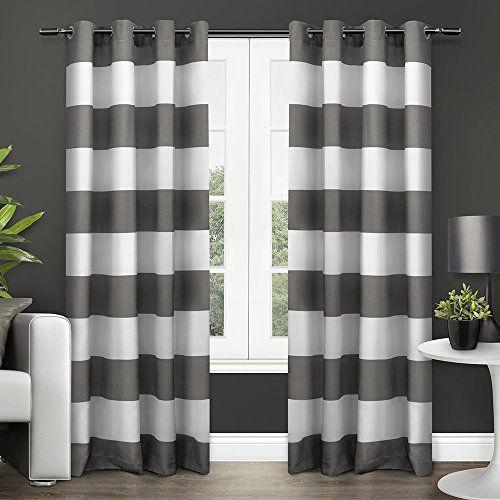 "Exclusive Home Surfside Grommet Top Window Curtain Panels Black Pearl (2 Pack/Panel Pair 2) 54"" x 96"""