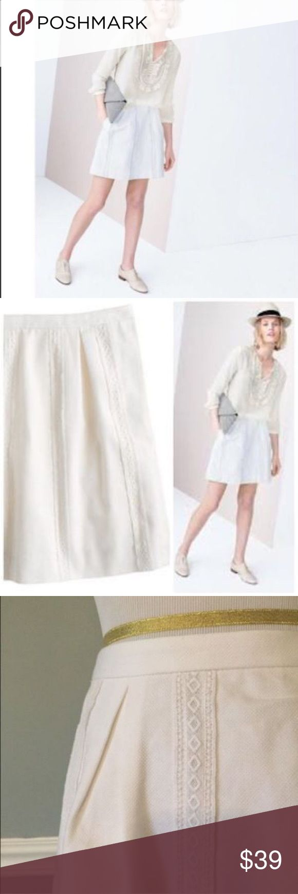 """NWT J Crew Lace Stripe skirt white 12 Sits above waist. 18"""" long. Falls above knee. Cotton.  Back zip. On seam pockets. Lined. Machine wash. Skirt for sale is white - pink is just for show. Tags have been marked to prevent store returns J. Crew Skirts Mini"""