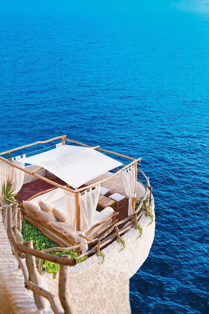 Menorca, Spain, outside bed area overlooking ocean