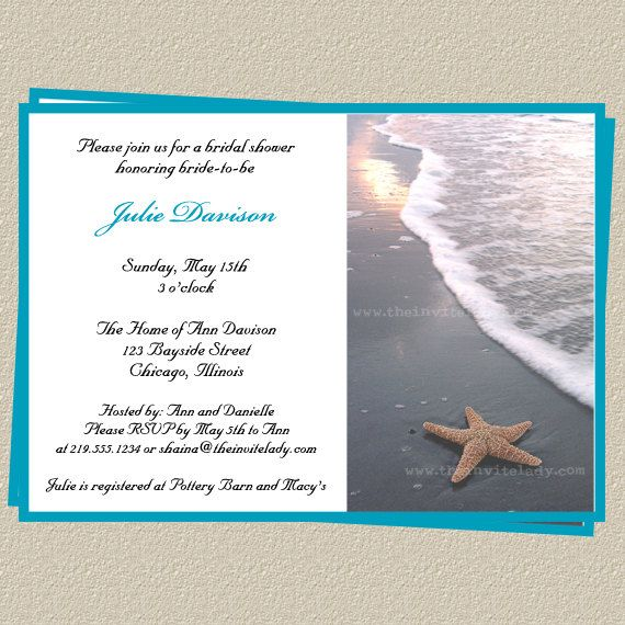 beach bridal shower invitations wedding starfish blue set of 10 printed cards with envelopes free shipping starb starfish beach danielle