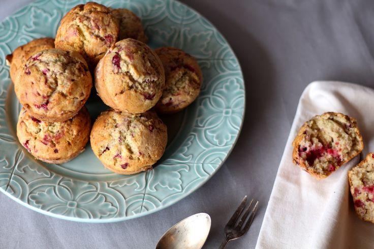 Receita de muffins de framboesa e limão.
