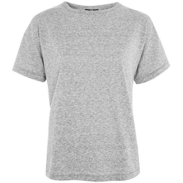 TopShop Petite Marl Short Sleeve T-Shirt ($20) via Polyvore featuring tops, t-shirts, grey marl, petite tops, short sleeve tops, grey t shirt, grey top and marled tee
