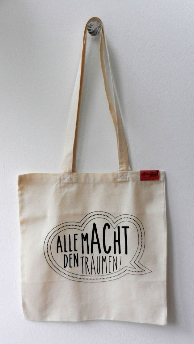 "Jutebeutel ""Alle Macht den Träumen!"" // totebag dreams by Lara Bim via DaWanda.com"