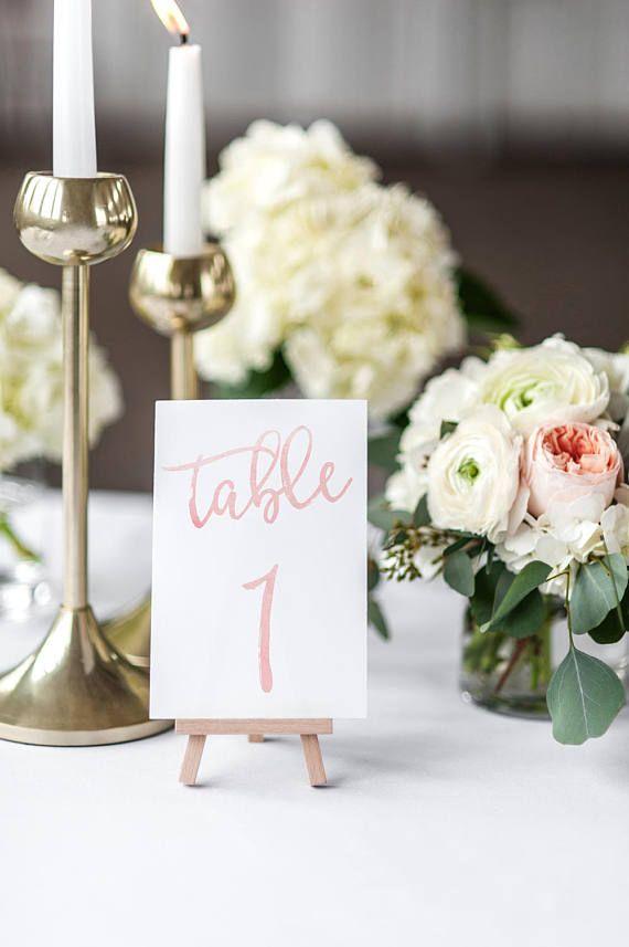 Printable Wedding Table Numbers / Watercolor Calligraphy /