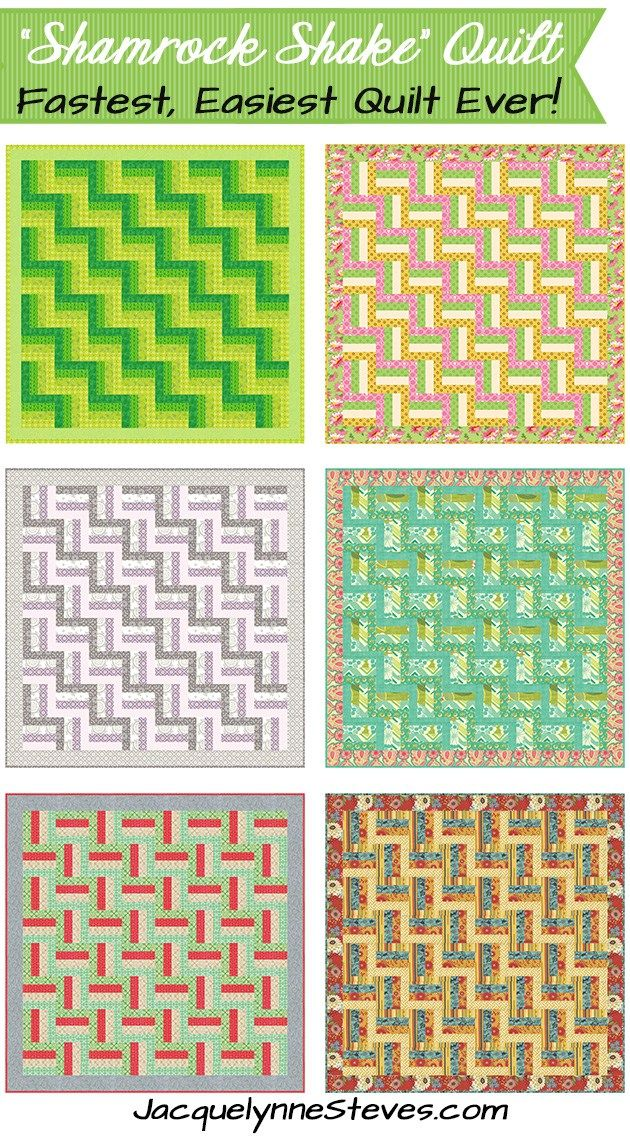 Super Quick and Easy Quilt Pattern - Shamrock Shake - change your colors and fabrics for any season. Great charity quilt or gift. JacquelynneSteves.com