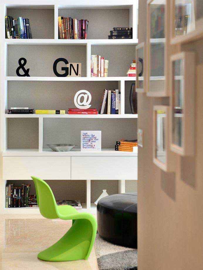 SYRB Balcon East #syrb #modern #interior #design #living #composite #bookshelves #white #green #panton