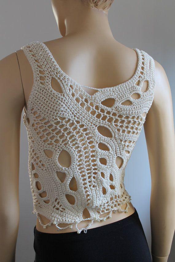 Ivory Cotton  Freeform Crochet Tank -