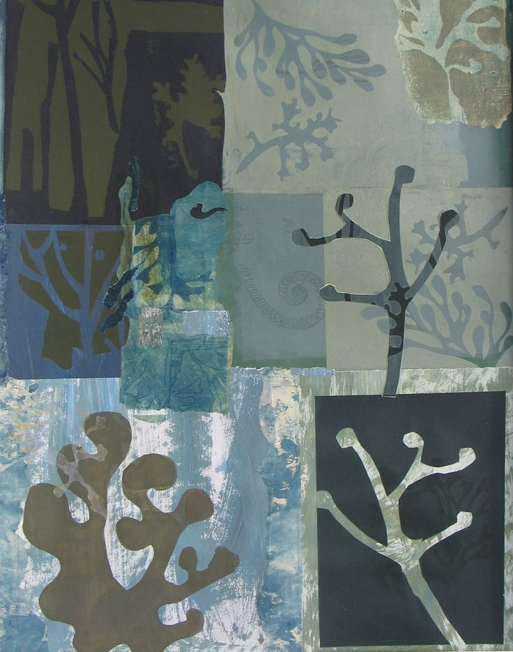 silk screen, monoprint, stencil, relief print and collage.  That's definitely an example of  mixed media!