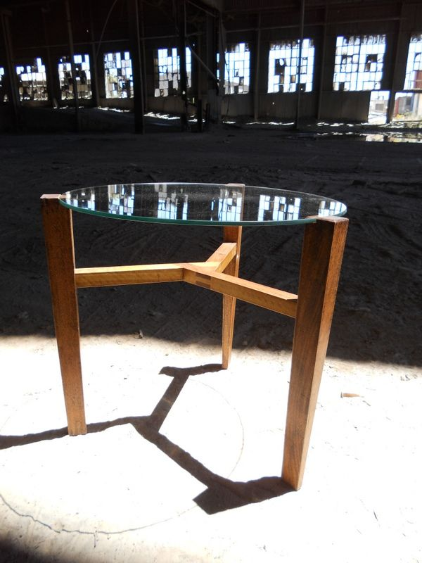 """Thorn"" side table with balau legs and stinkwood interlocking crossbraces"
