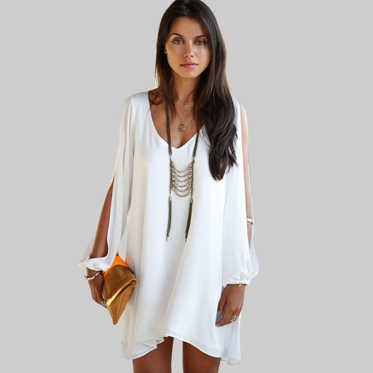 Barato 2016 nova Chiffon vestido curto mulheres de Sexy V pescoço Strapless Mini vestido branco vestidos, Compro Qualidade Vestidos diretamente de fornecedores da China:         1) o tamanho é medido pela mão, 1       -3 cm      Erros são permitidos.  É o tamanho da Ásia.     2) todo