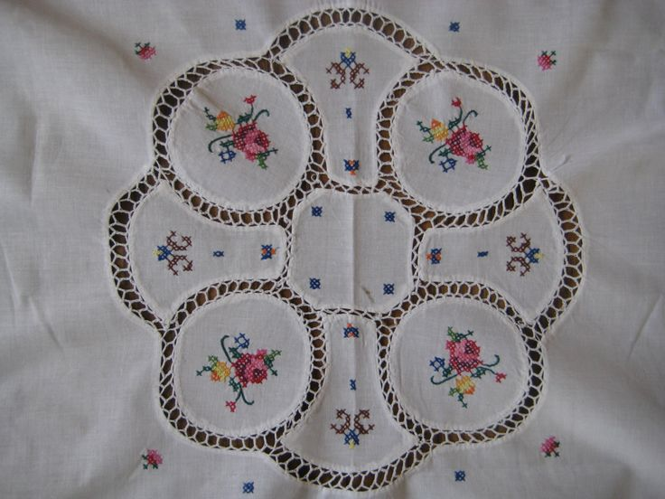 Vintage cloth,Tablecloth, Linen, Floral Embroider, Cross Stitch Crochet Insert, Fresh white cotton linen at Designs by Willowcreek on Etsy by DesignsByWillowcreek on Etsy