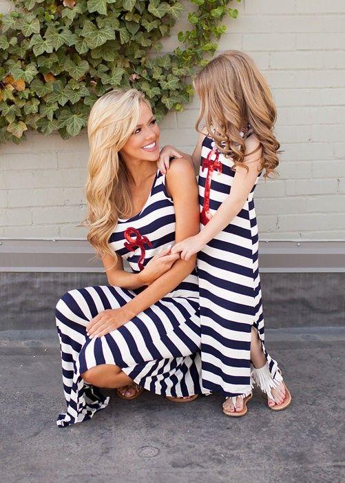 2015 elegante rojo sequin anchor niñas verano maxi dress100 % algodon azul rayas blancas madre e hija vestido de diseño-Vestidos para chica -Identificación del producto:60238185462-spanish.alibaba.com