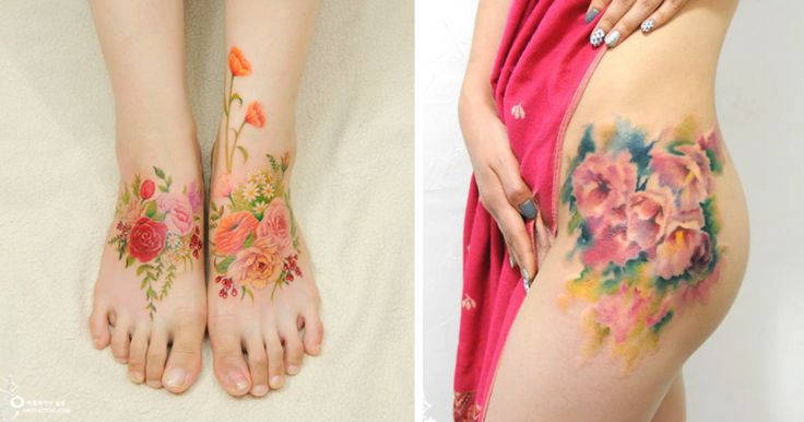 Τατουάζ με Λουλούδια που Μιμούνται Ζωγραφιές με Ακουαρέλες στο Δέρμα
