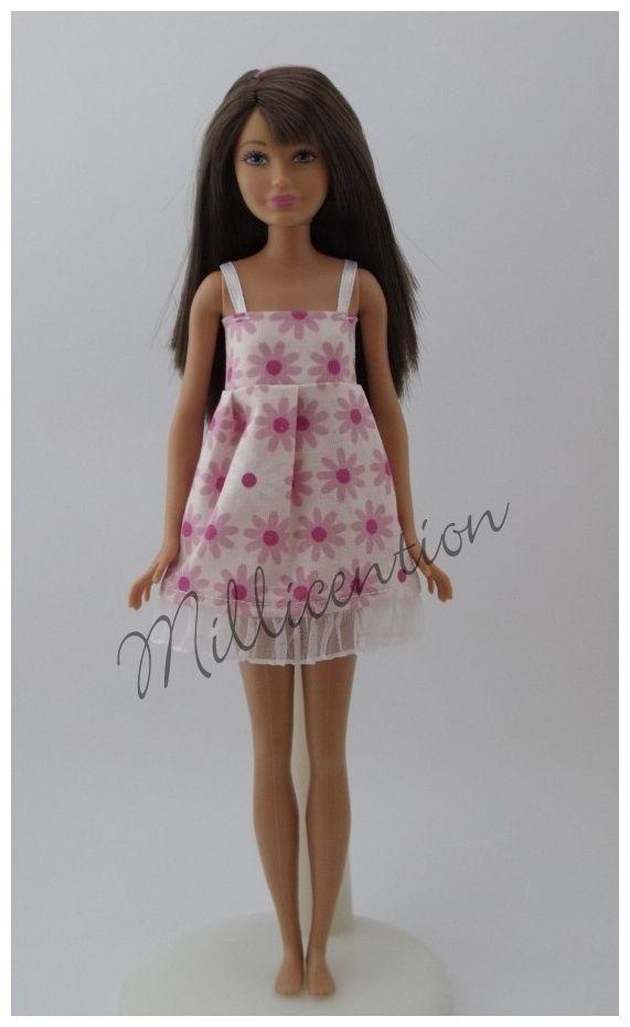 Pink floral ruffled Skipper doll nightgown