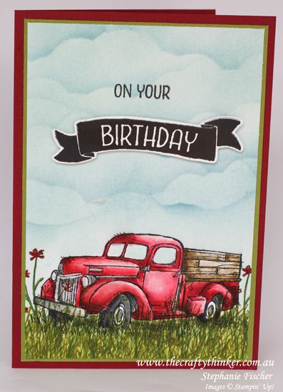 Stampin Up, #thecraftythinker, Country Livin', Masculine Card, watercolouring, Sponging, Card with truck