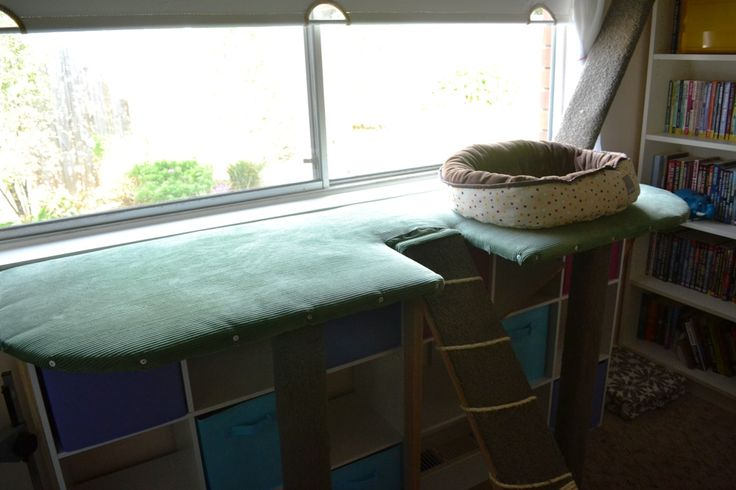 DIY office bench with purrfect views to the backyard.  Includes central ramp for easy access, dual scratching posts for legs and additional ramp for access to top of book shelf