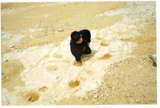 Puglia - Altamura - Cava dei Dinosauri: Lorenzo mette una mano in un' orma