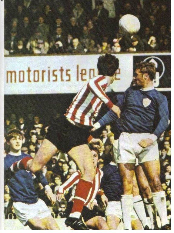 31st August 1968. Leicester City defender Graham Cross heads clear against Southampton.