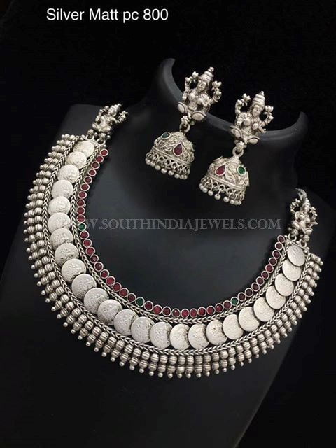 Silver+Coin+Necklace+With+Jhumka