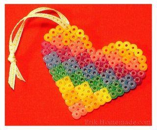 Perler Beads Rainbow Heart Project photo