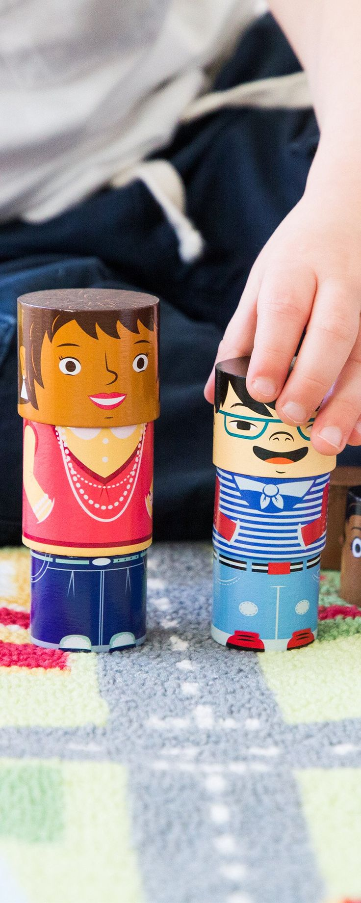 Not every family looks alike and these interchangeable dolls let kids stack up little people that represent the world around them. Discovered by The Grommet.