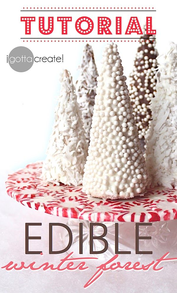 Beautiful! How to make an edible winter forest out of sugar cones. <3 Candy holiday forest tutorial at I Gotta Create!