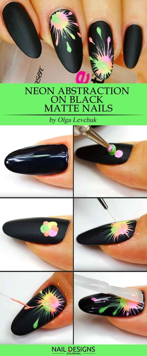 Neon Abstraction on Black Matte Nails