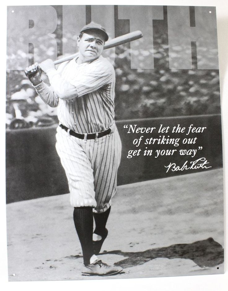 Babe Ruth Metal Sign No Fear Quote New Nyy York Yankees