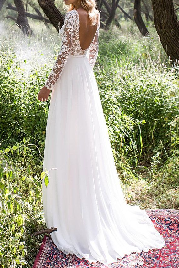 Robe de mariée bohème en dentelle mousseline de soie Beach