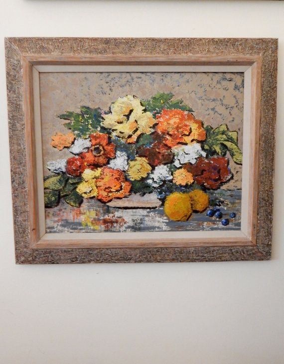Vintage Still Life Floral Painting Mid Mod by TooArtfulForYou, $114.99