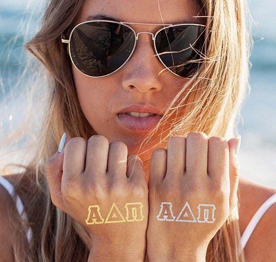 Alpha Delta Pi (ADPi) Sorority Tattoo: $6.00. Greek Letter Flash Tats. Silver and Gold. Great Greek Gift.