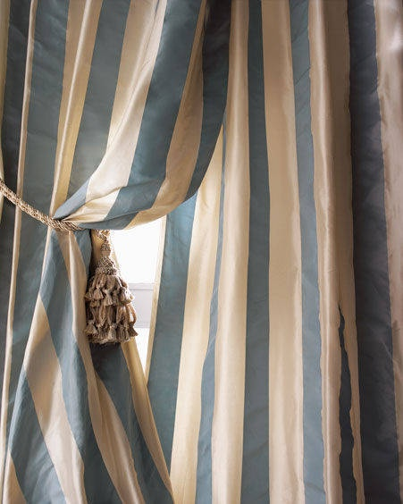 'pavillion stripes' silk drapes ❀ ~  ◊  photo via 'the selfish seamstress'